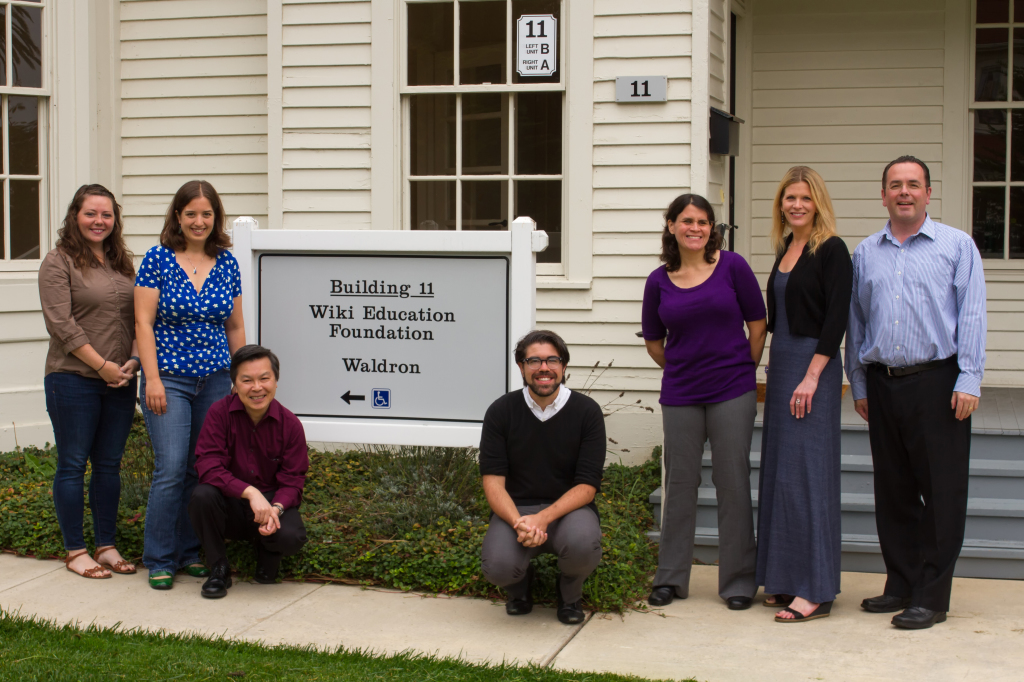 Wiki Education Foundation staff photo September 2014. Left to right: Jami Mathewson, LiAnna Davis, Bill Gong, Eryk Salvaggio, Helaine Blumenthal, Sara Crouse, Frank Schulenburg. Not in the picture: Sage Ross, who's working out of Seattle.