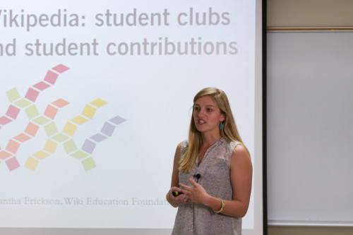 Samantha speaking at the Wikipedia workshop at the University of Arizona in late February.