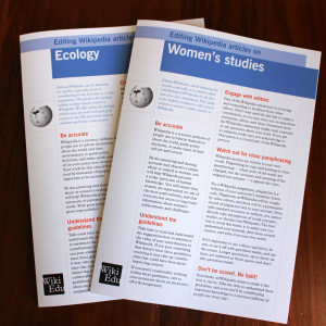Two new subject-specific brochures, covering ecology and women's studies, are now available from Wiki Ed.