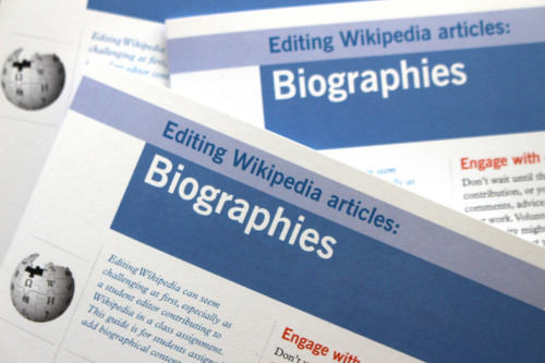 "Wiki Ed's ""Editing Wikipedia Articles: Biographies"" brochures"