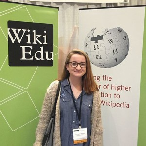 Student editor Lizzy Kenah stopped by the Wiki Ed booth at NWSA 2015.