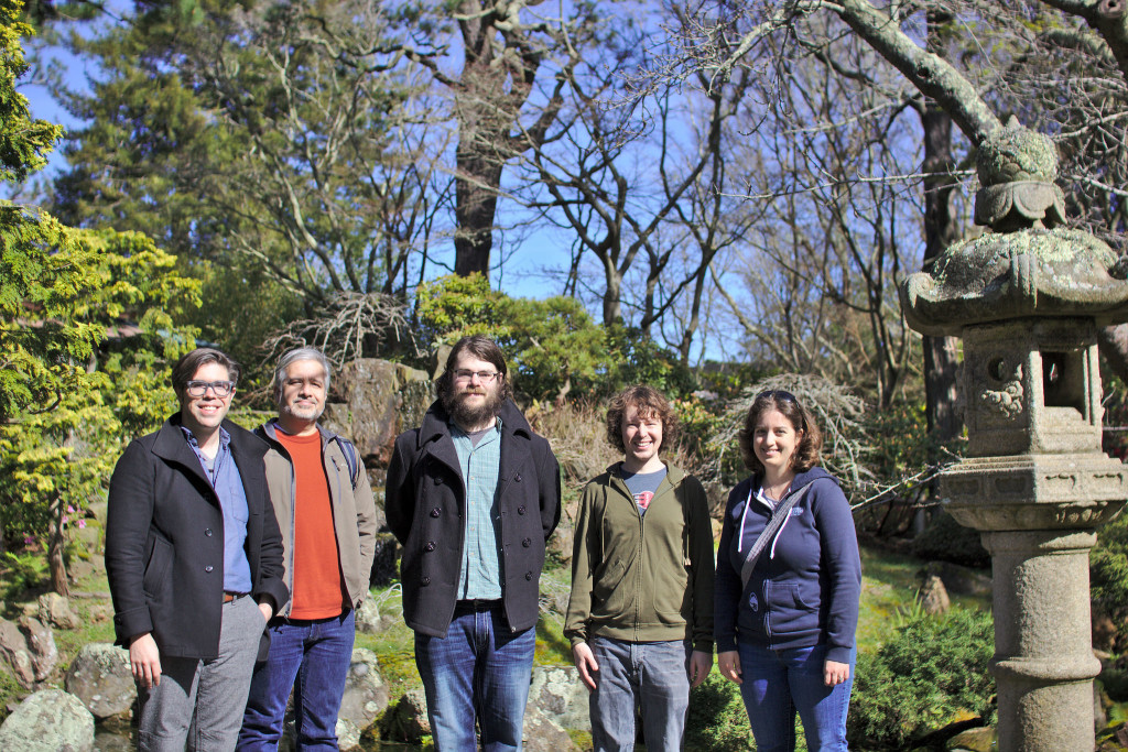 Wiki Education Foundation Program Support staff at the Japanese Tea Garden in San Francisco's Golden Gate park.