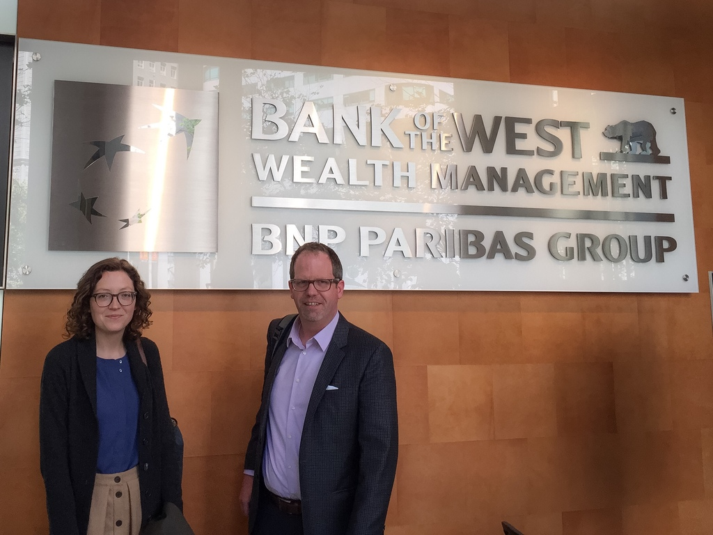 Victoria Hinshaw and Tom Porter are pictured at the Bank of the West Wealth Management office in San Francisco, California.