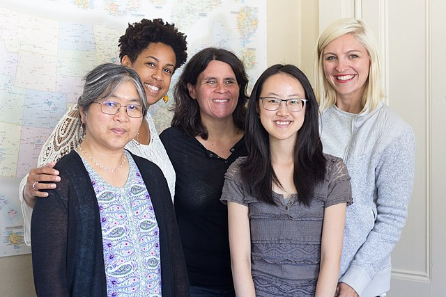 From left to right, UC Berkeley Librarian Corliss Lee, UC Berkeley professor Naniette Coleman, Wiki Education Classroom Program Manager Helaine Blumenthal, UC Berkeley student Angela Zeng, and Wiki Education Outreach Manager Samantha Weald at the Wiki Education offices.
