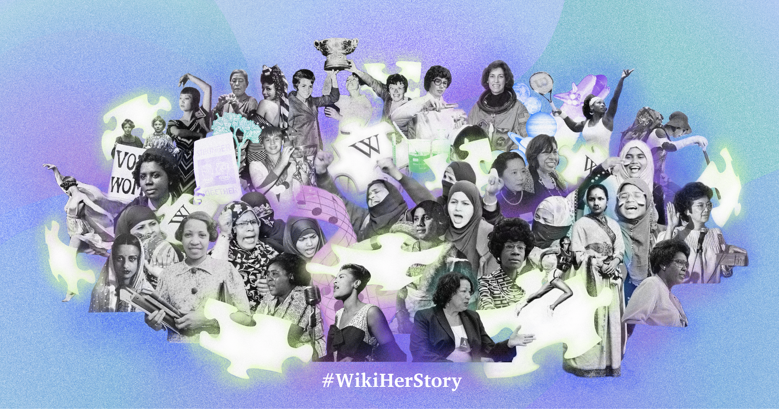 Collage of images related to women and Wikipedia for Women's History Month