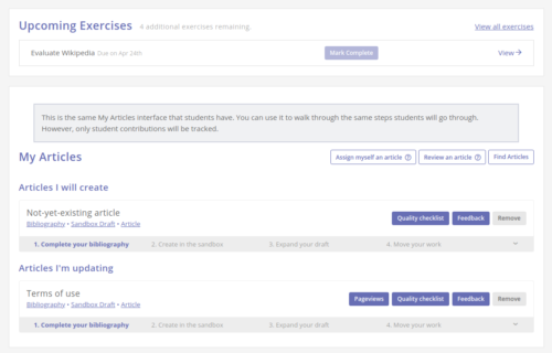 screenshot of instructor view of My Articles