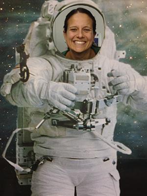 Roxanne Hughes dressed as an astronaut