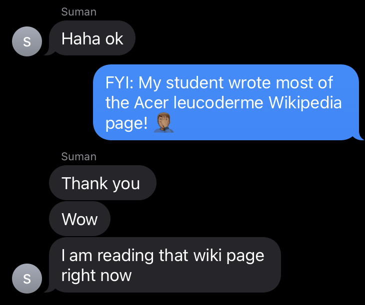 screenshot of iMessage conversation